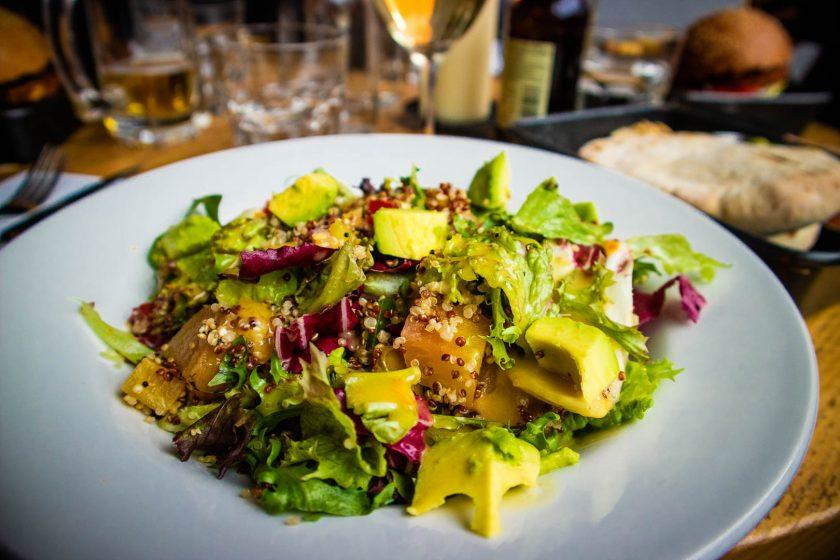 Vegan quinoa avocado salad at Checkpoint restaurant in Edinburgh