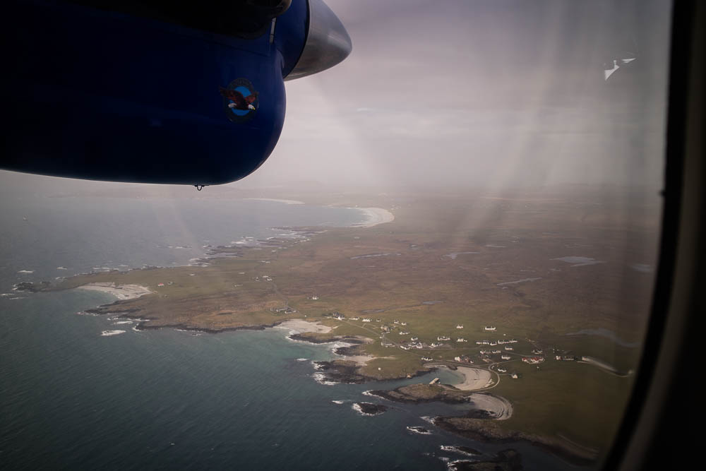View from the plane window over Scottish island Tiree.