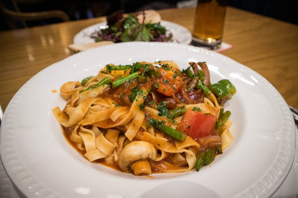 Pasta with veg at Ardshiel Hotel