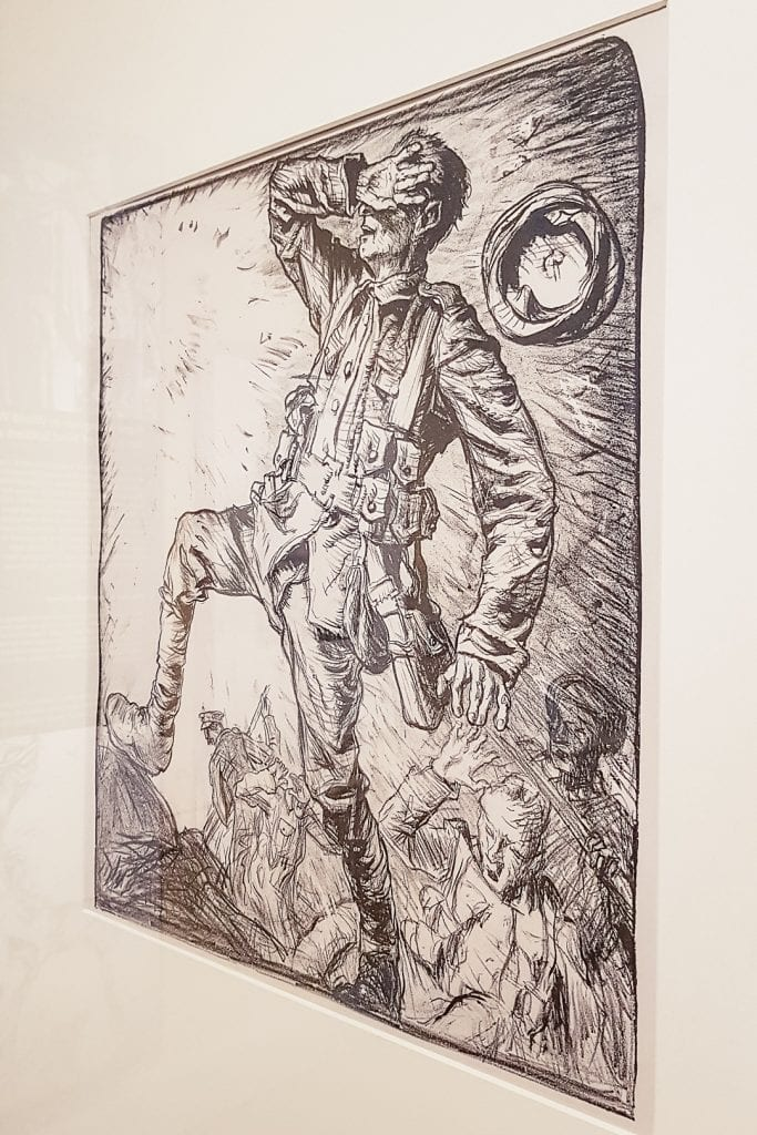"One of Frank Brangwyn's lithographs entitled ""Art in Aid of Blind Soldiers and Sailors"" at Kelvingrove Museum in Glasgow."