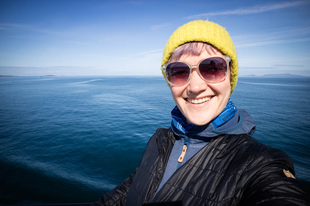 A woman on the ferry from Oban to Coll.