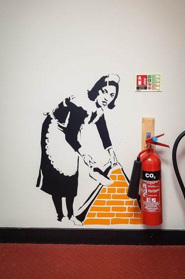 Wall art at Code pod hostel in Edinburgh