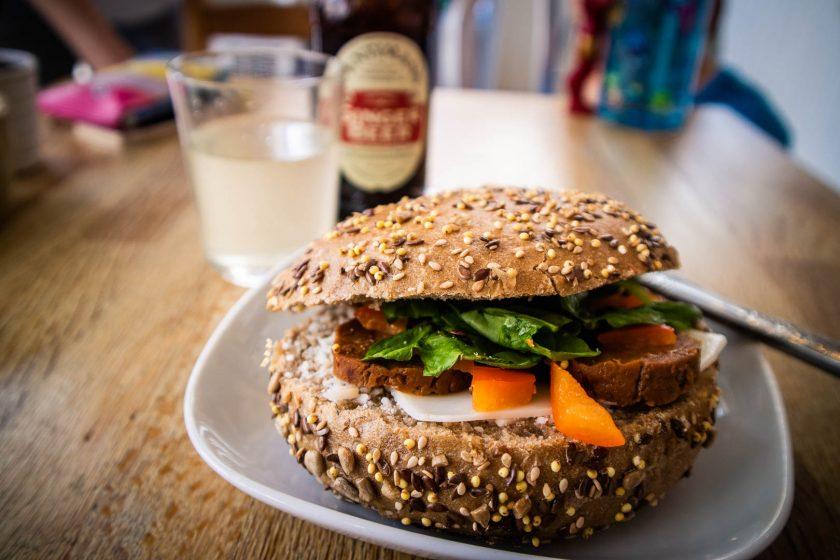 Vegan chorizo roll at Chapter One coffee shop in Edinburgh