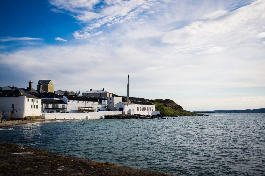 Bowmore Distillery by the sea in Scotland