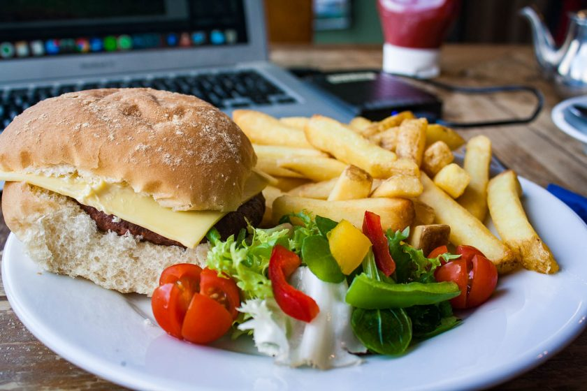 Vegan burger with chips and salad at The Pantry on Colonsay