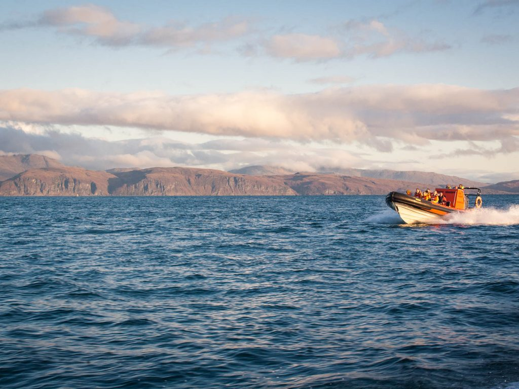 An RIB boat out at sea