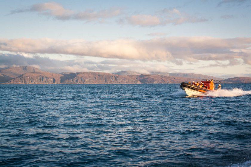 An RIB boat out at sea