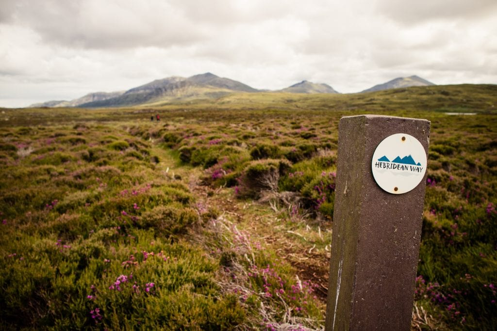 A Hebridean Way marker post on South Uist.