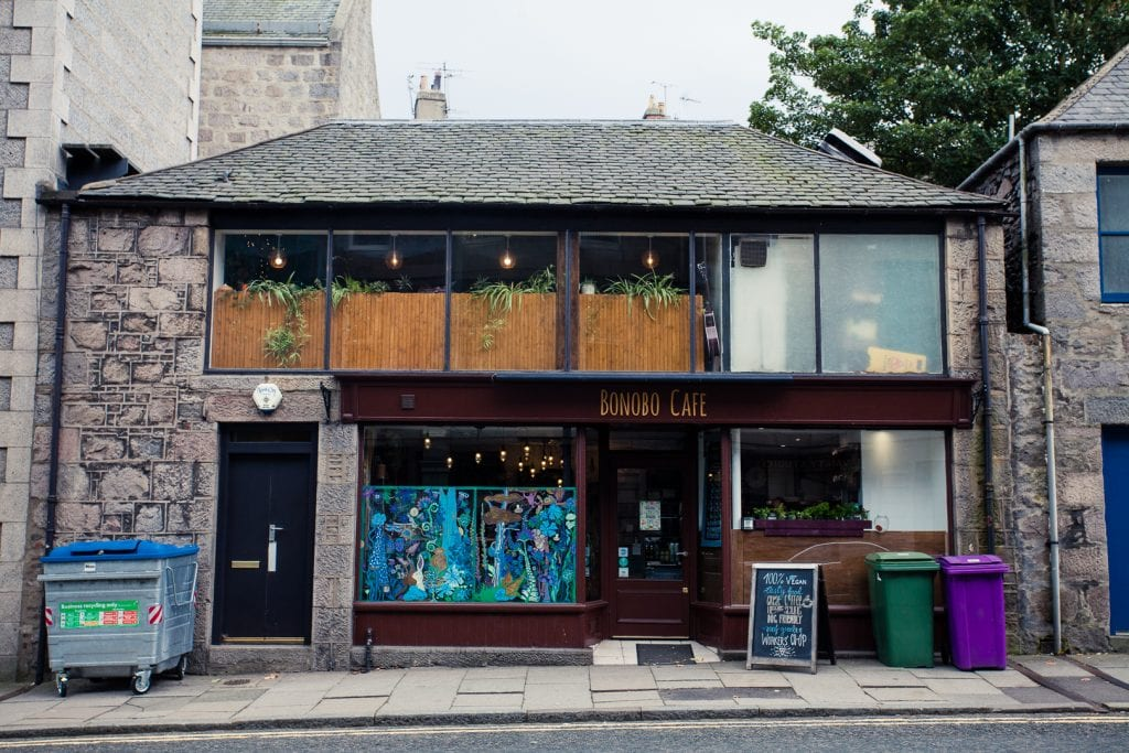 The exterior of Bonobo vegan cafe in Aberdeen