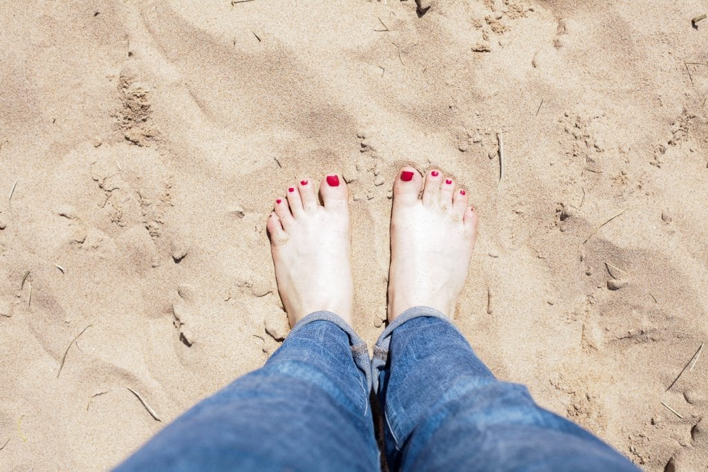 Digging my toes into the warm sand of Balmedie Beach.