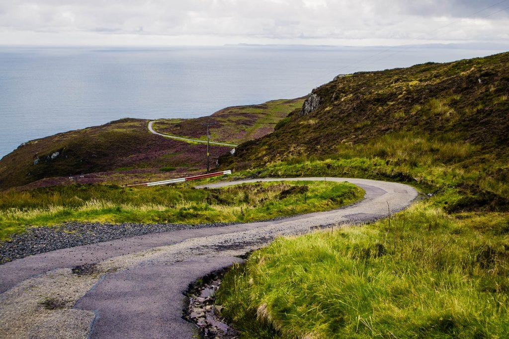 A single track road on the Kintyre peninsula.