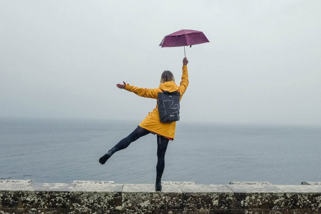While umbrellas make for pretty photo props, they are rather useless in protecting you against Scottish weather. It's better to invest in a good rain jacket for your trip to Scotland!