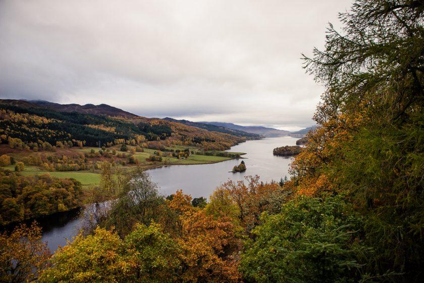Queen's View in Scotland during autumn