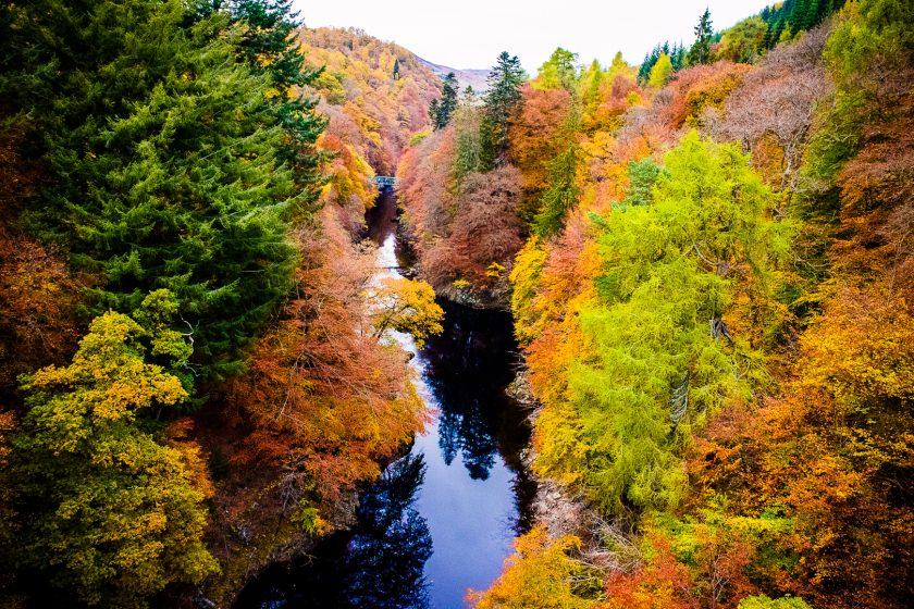 Autumn colours at Killiecrankie pass in Perthshire