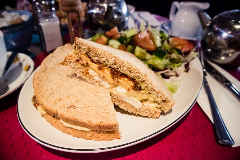 Vegan hummus sandwich at Hettie's Tearoom in Pitlochry