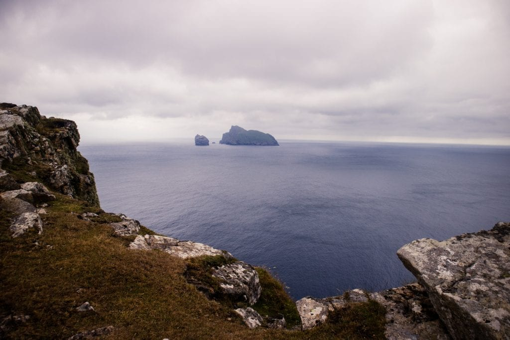 Borerary and the sea stacs seen from The Gap on Hirta