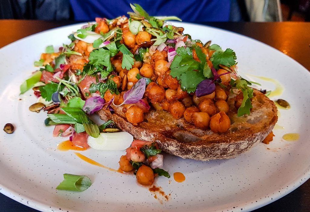 Roasted chickpeas on sourdough at Mala Carne Glasgow.