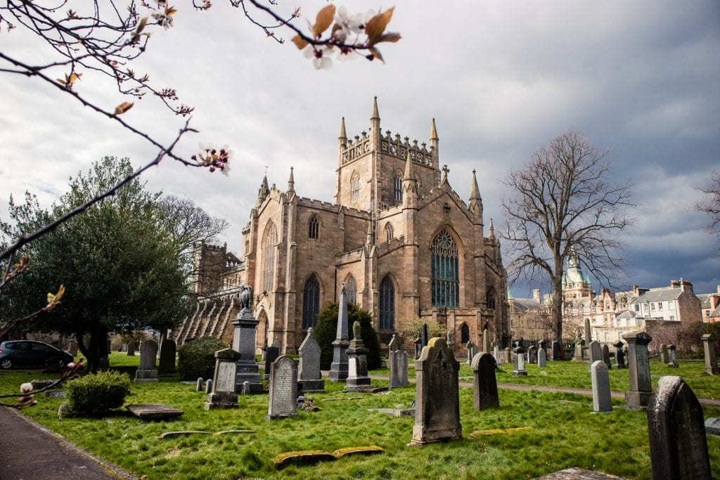 Dunfermline Abbey and the surrounding graveyard.