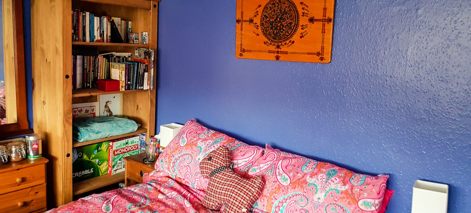 Our colourful room at The Cosy Vegan B&B in Crossford near Dunfermline, Scotland.