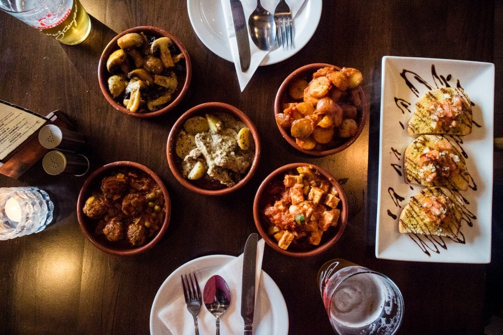 Vegan tapas at Tapas Ducal in Dunfermline in Scotland.