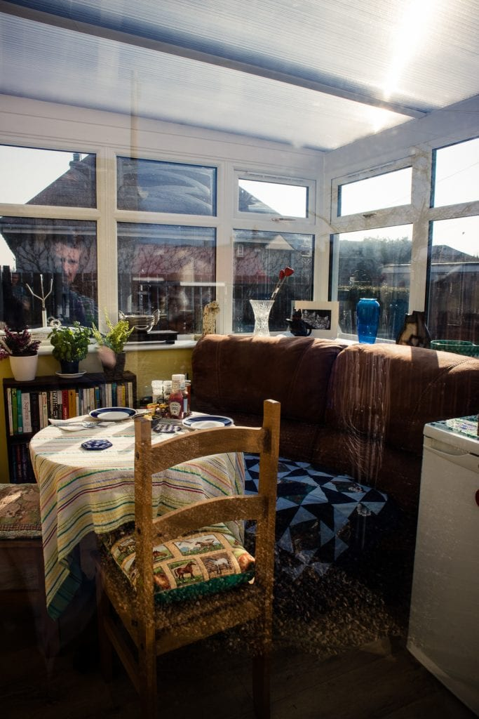 The sunny conservatory at the Cosy Vegan B&B.