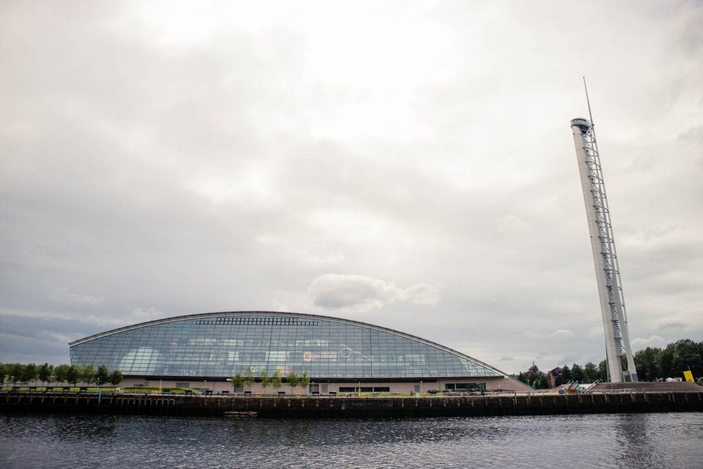 Glasgow Science Centre and the Glasgow Tower by the River Clyde,