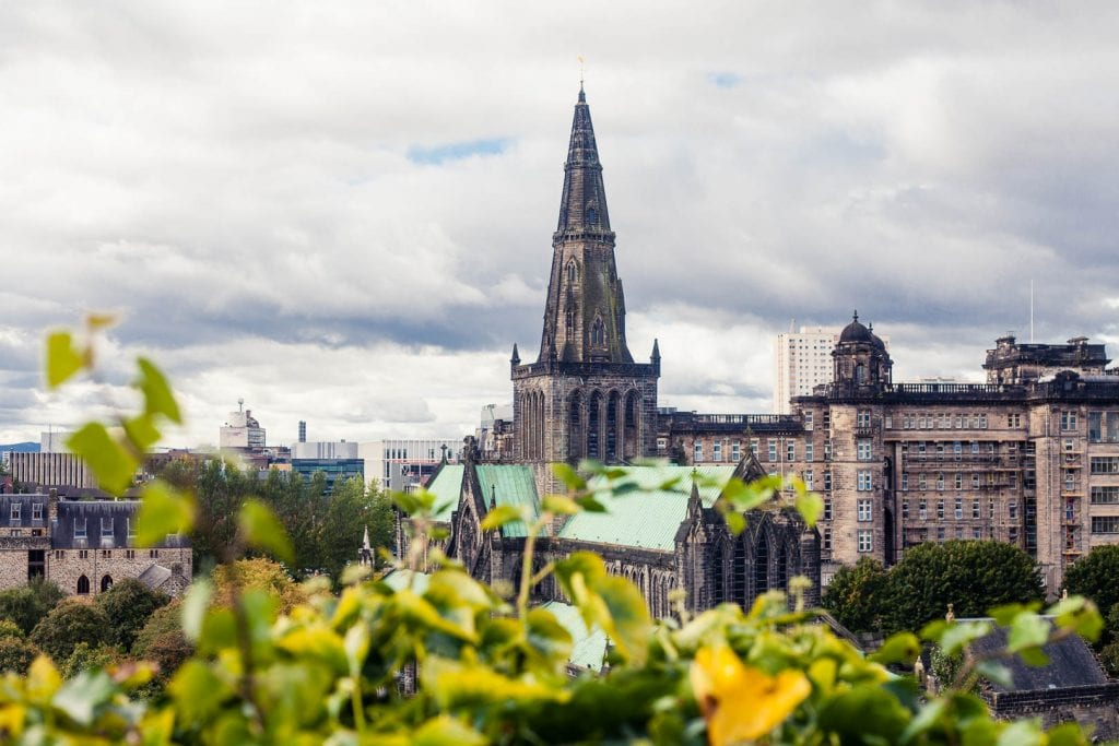 The view onto Glasgow Cathedral from the Necropolis cemetery in Glasgow.