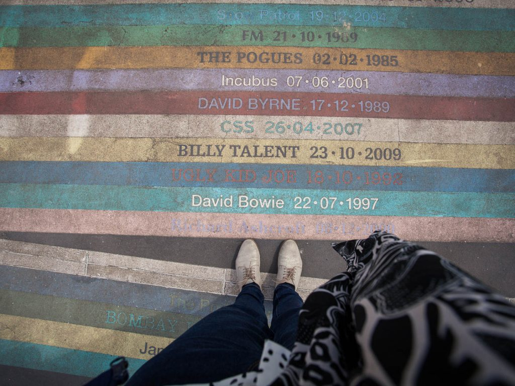 The rainbow memorial to all bands who ever performed at Barrowlands music venue at Barrowlands Park in Glasgow.