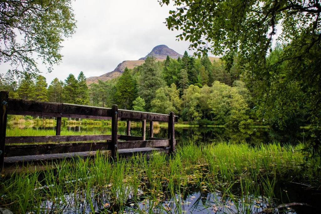 A mountain and a green lake - The Pap of Glencoe above Glencoe Lochan