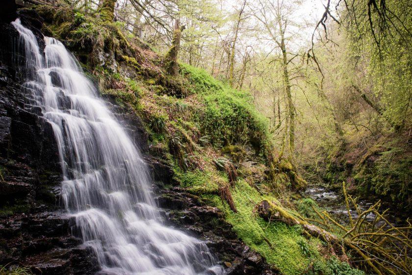 Waterfall at Birks of Aberfeldy in Scotland