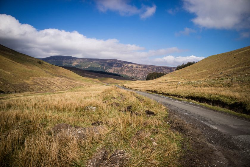 The small road to Ben Lawers from Glenlyon