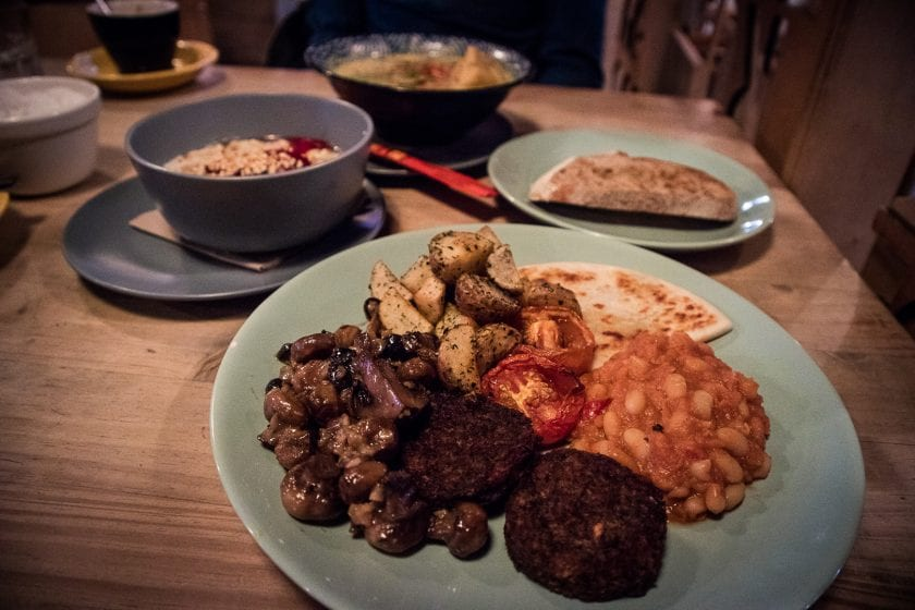 Vegan fry up at Hen of the Woods at the Glad Cafe Glasgow.