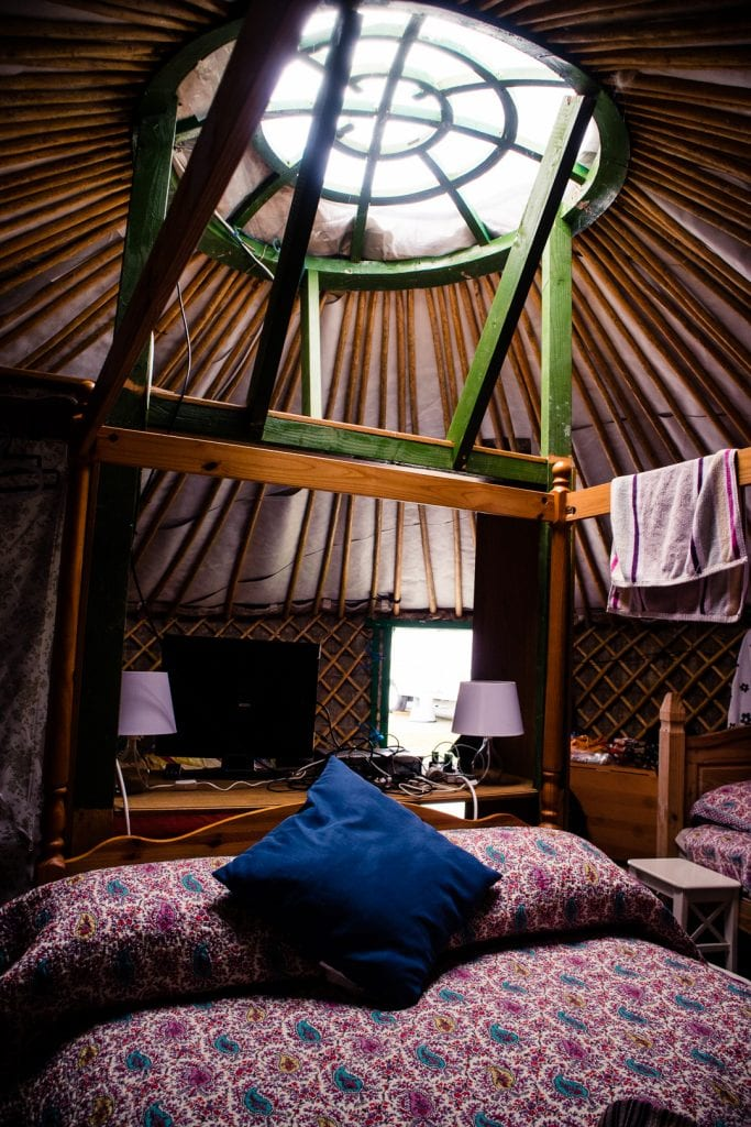 The interior of my yurt at Barra Holidays on the Hebridean Way.