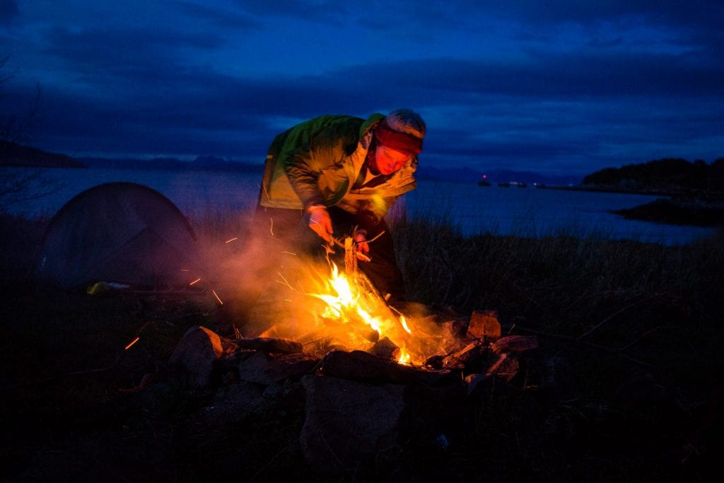 This photo shoes my friend making a fire at the campsite on the Isle of Rum.