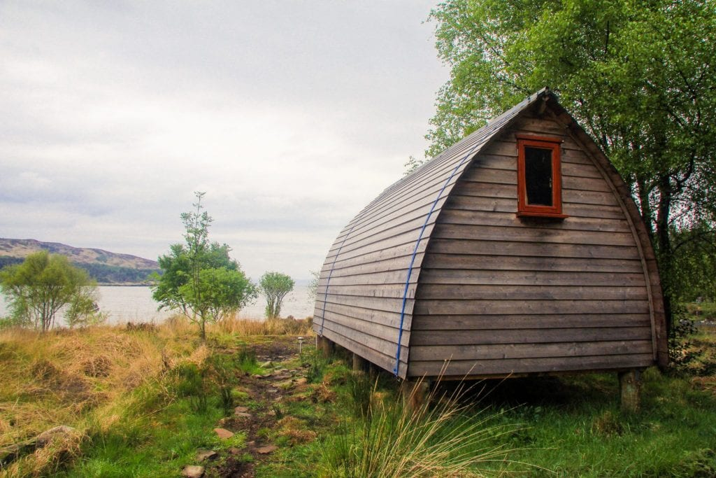 This photo shoes a camping cabin on the Isle of Rum.