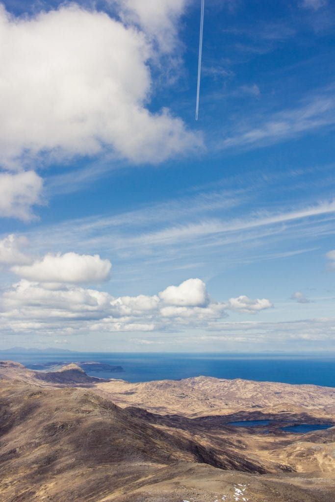 This photo shows the view from the Cuillin hills on the Isle of Rum.