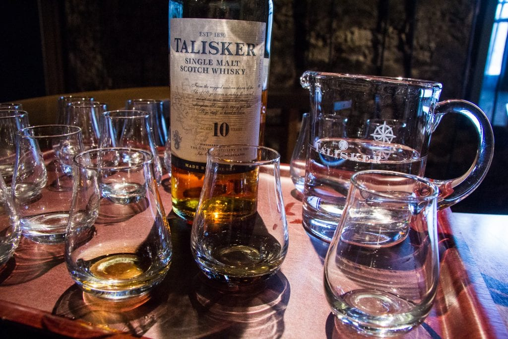 Whisky glasses at Talisker Dilstillery on Skye.