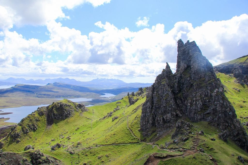 The Old Man of Storr and the Quiraing mountains on Skye