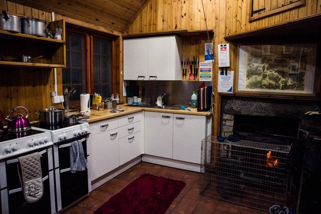 Communal kitchen at Loch Ossian Youth Hostel