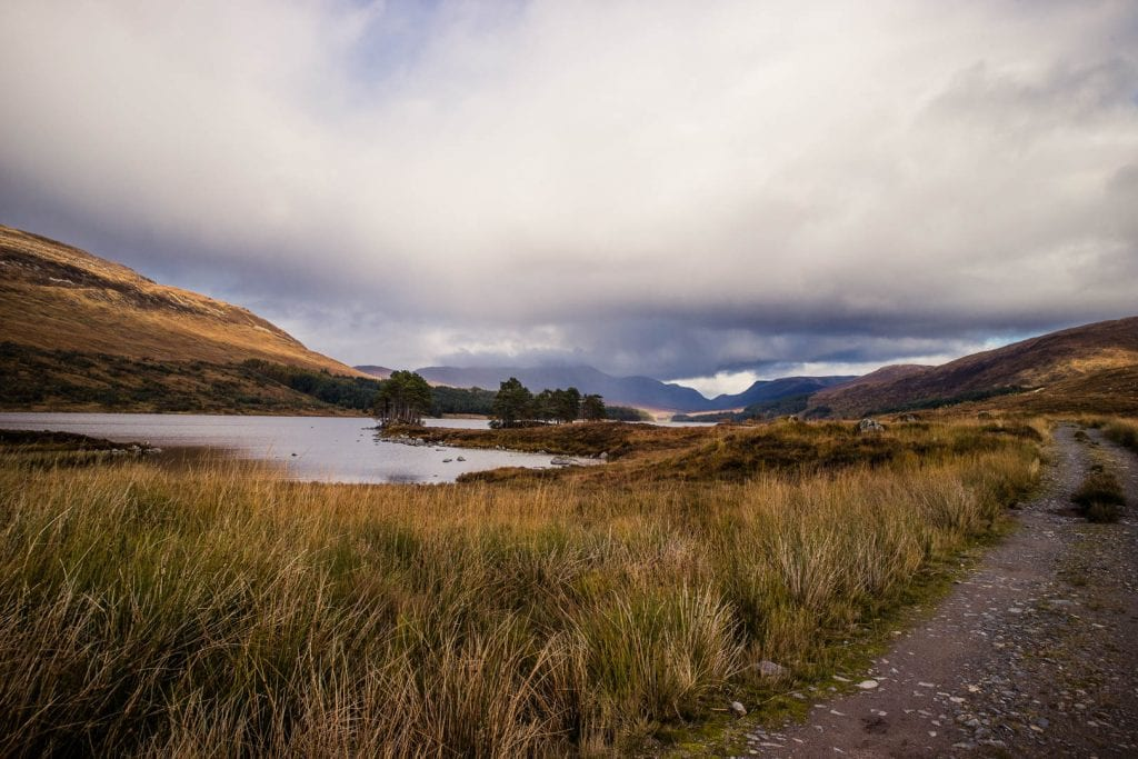 The road leading from Corrour station to Loch Ossian Youth Hostel.