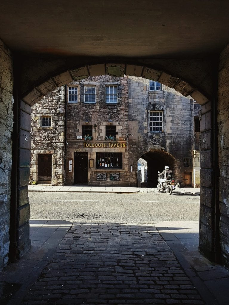 Looking out of one of the hidden closes in Edinburgh's Old Town.