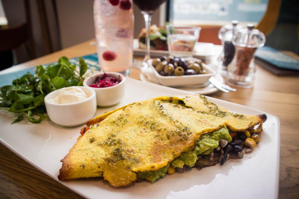 Vegan quesadilla at Loudons New Waverley cafe in Edinburgh Old Town