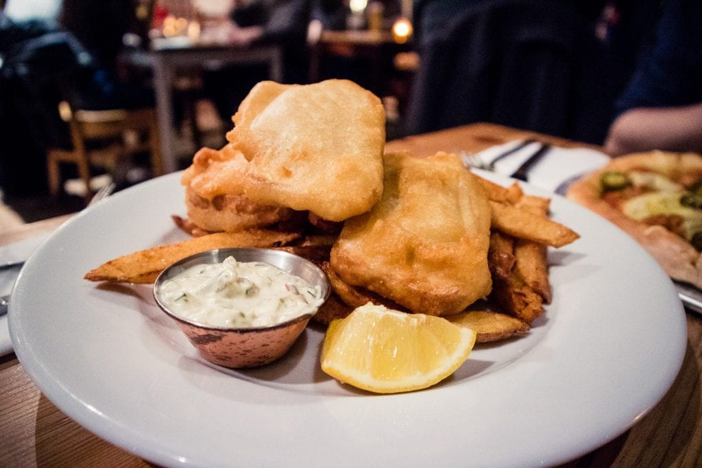 Vegan fish & chips at Mono restaurant in Glasgow.