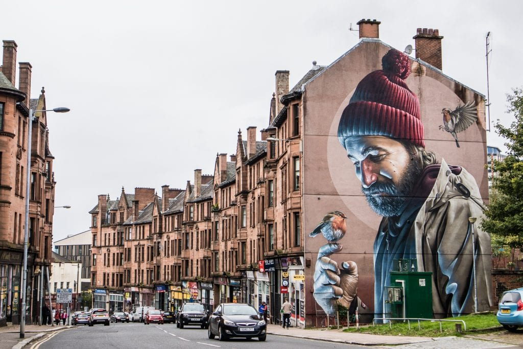 Mural of St Mungo in Glasgow.