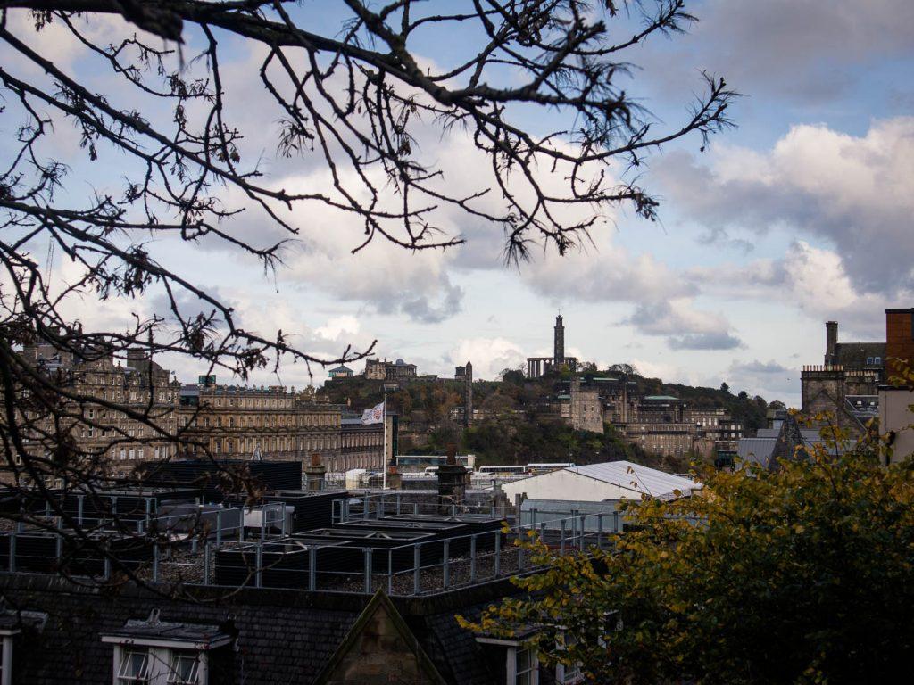 Edinburgh skyline with Nelson Monument and Calton Hill