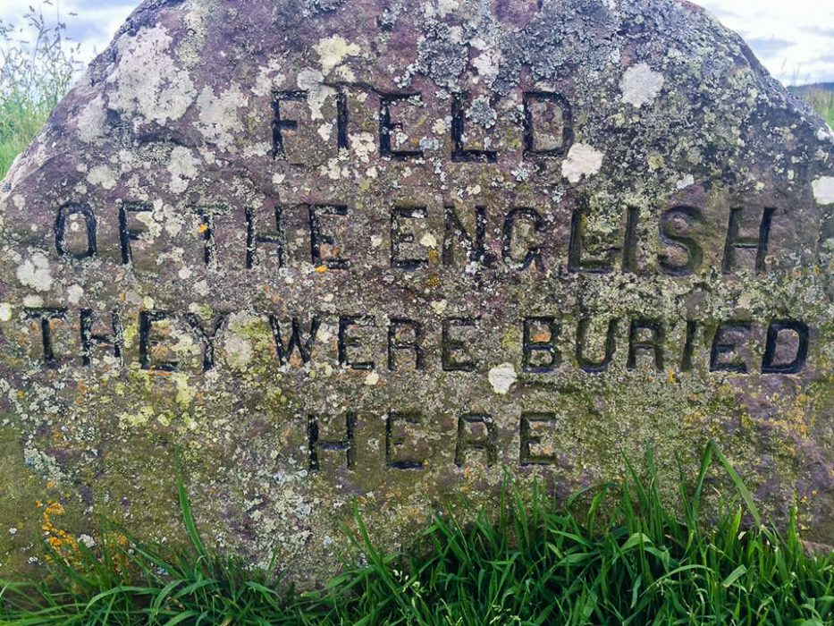 A memorial stone at Culloden Battlefield in Scotland.