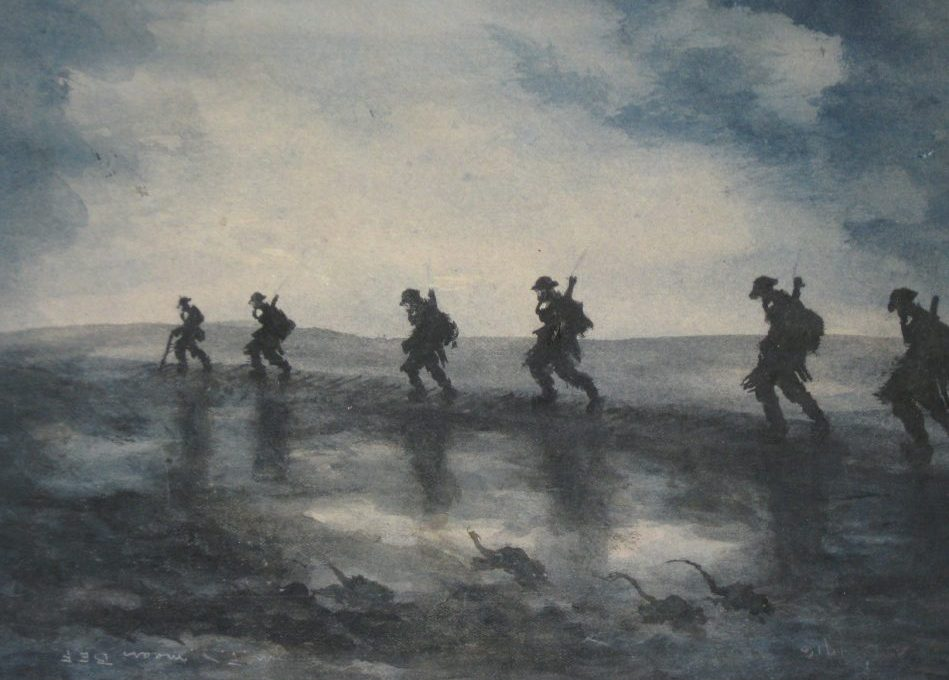 A drawing exhibited at the Brushes with War exhibition at the Kelvingrove Museum in Glasgow.