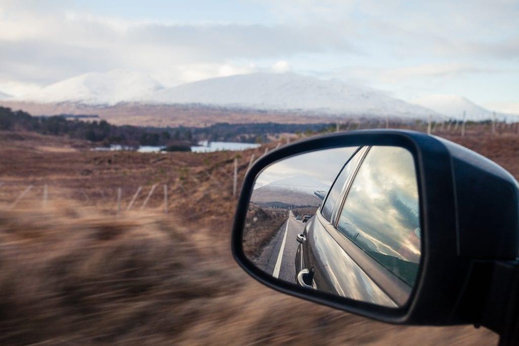 Driving across Rannoch Moor in Scotland.