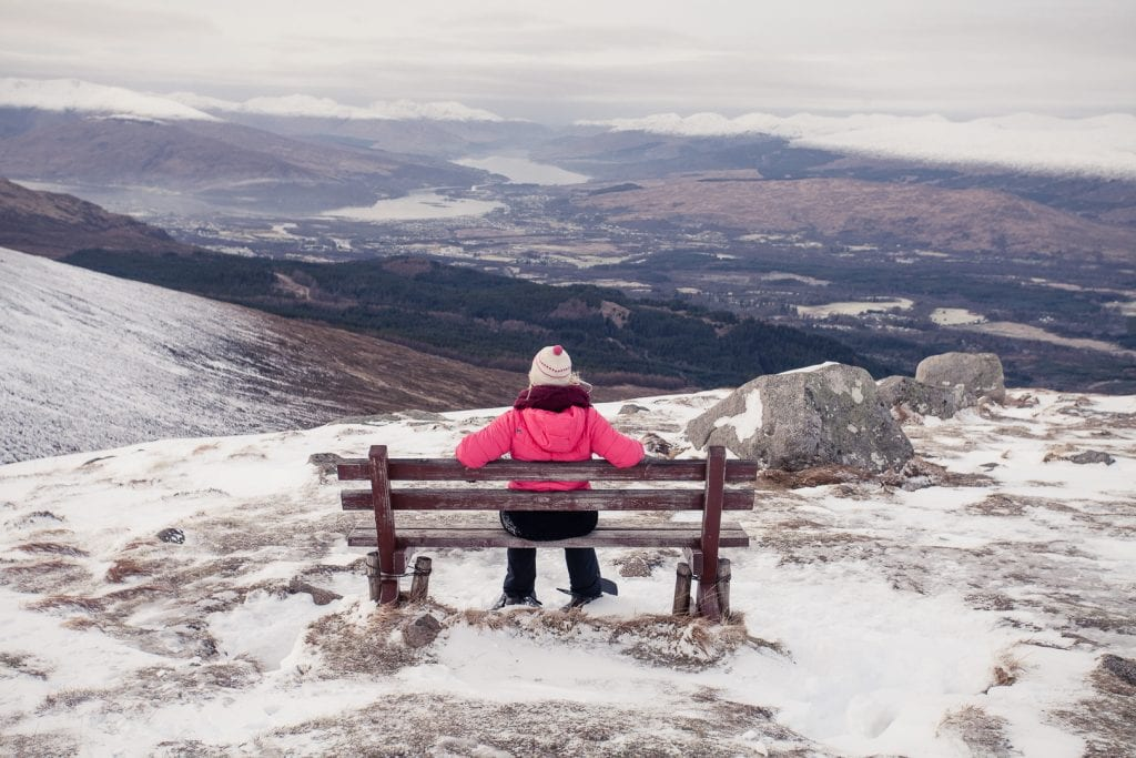 An ice-cold day at the Nevis Range by Fort William - a padded jacket and warm knitwear are essentials to pack for Scotland in winter!