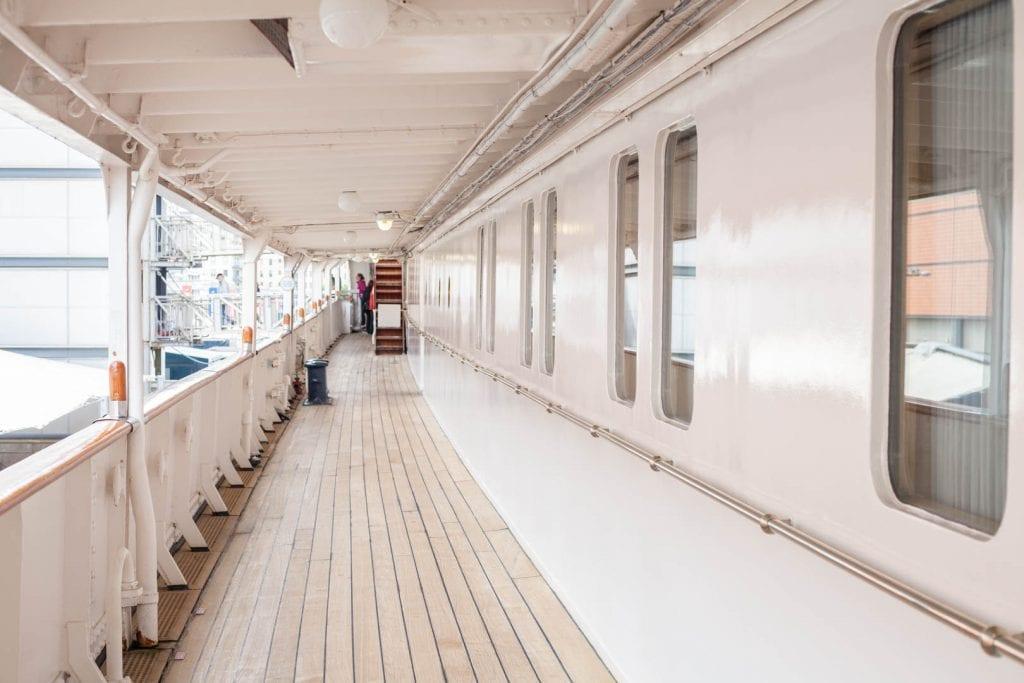 Visiting the Royal Yacht Britannia in Edinburgh.